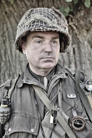 an image of a re-enactor in military uniform.