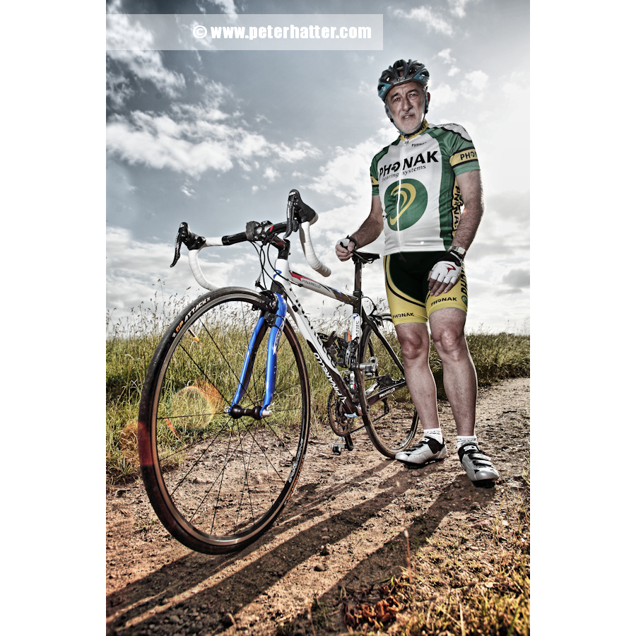 Senior male road race cyclist portrait