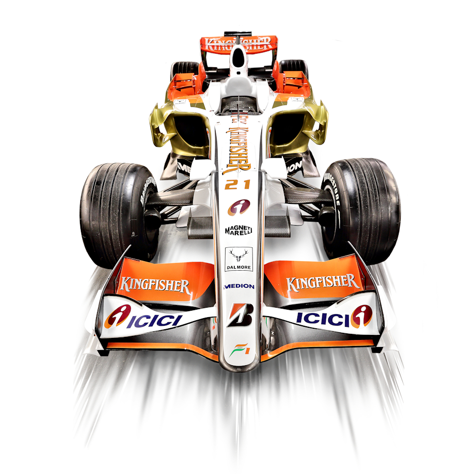 A Force India F1 car. An example of car product sports photography.