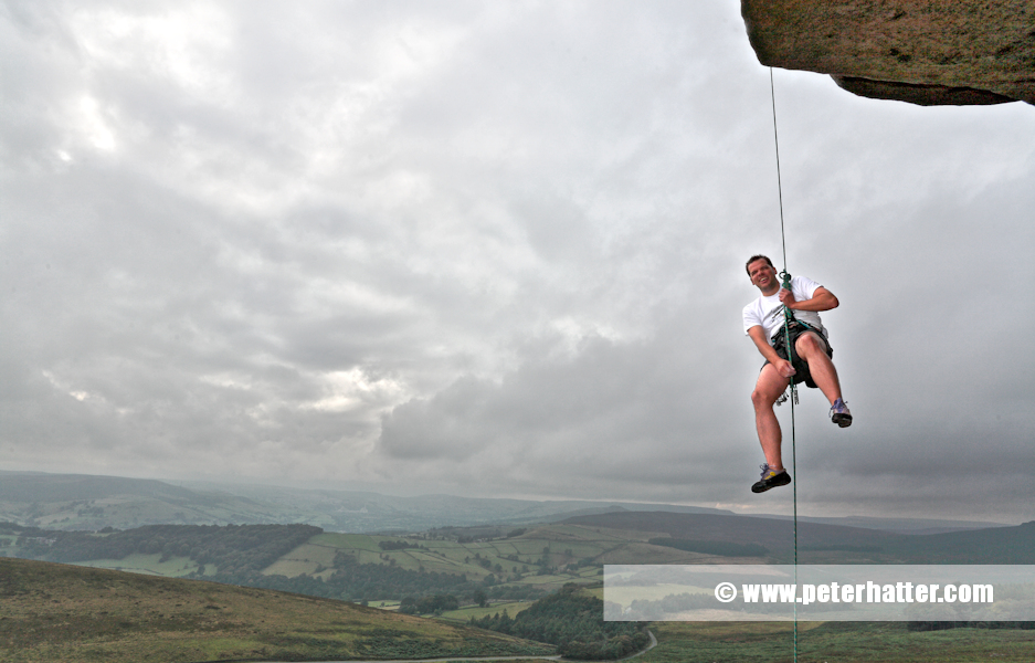 climbing at stanage edge derbyshire uk