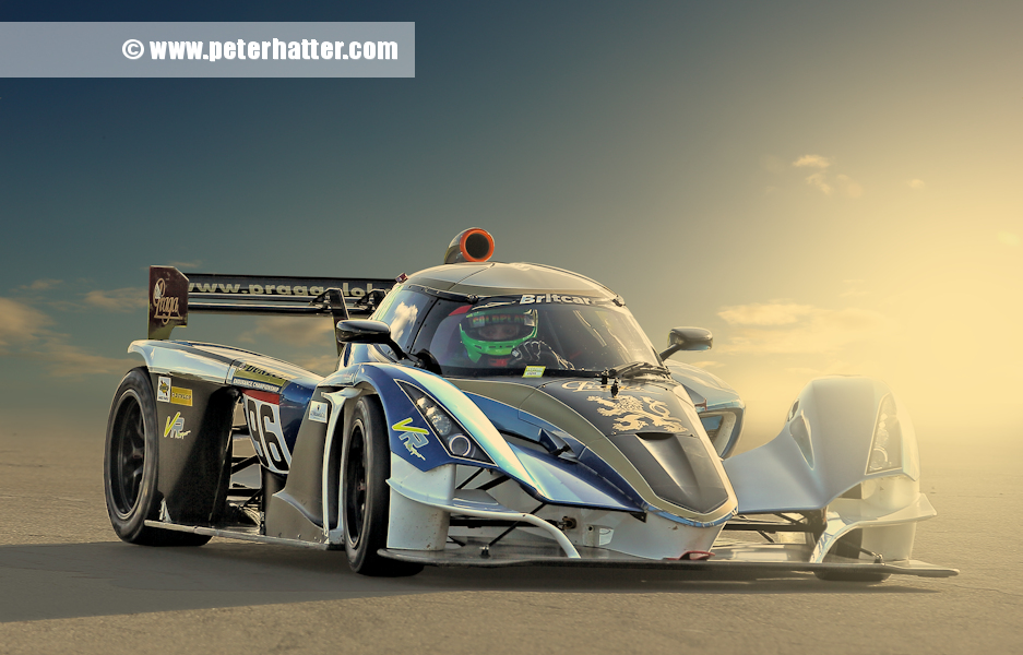 The Praga R1 on track. This raced in the 2020 Britcar Endurance Championship