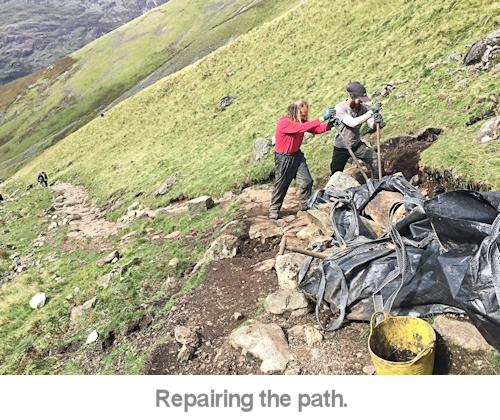 repairing the path on scafell pike