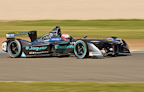 Adam Carroll testing for FormulaE for Jaguar Racing at Donington Park.