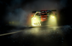 Artwork of a Gulf Racing Porsche GT3R created to look like a night time race in the rain.
