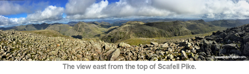 view east from the top of scafell pike
